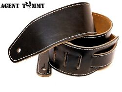 Genuine Soft Leather Black or Brown Guitar and Bass Strap 2.5 inches wide $28.95