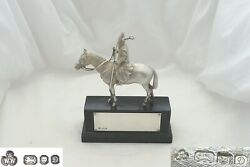Rare Qe Ii Hm Sterling Silver Cast Medieval Fiqure On His Horse Statue 1978