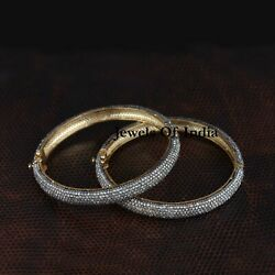 Natural Pave Diamond And 925 Sterling Silver Victorian 2 Pieces Bangle Jewelry