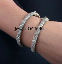 Victorian Natural Rose Cut Diamond And 925 Sterling Silver 2 Piece Bangle Jewelry