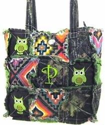 Western Mossy Oak Camo Owl Embroidery Aztec Patchwork Tote Rag Bag Monogram Gn
