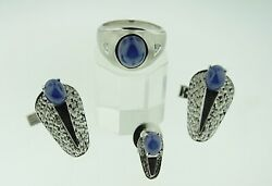 Vintage 14k White Gold Ring Cufflinks And Tie Pin 33.21g