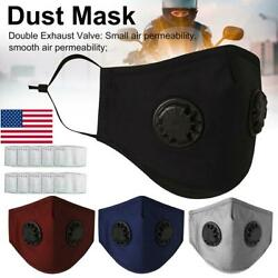 14x Anti-fog PM2.5 2 Valve Face Mask Muffle Activated Carbon Filter Respirator  $19.94