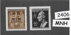 Mnh Stamp Set / Heydrich And Imperial Eagle And Symbol / Wwii Germany / Third Reich