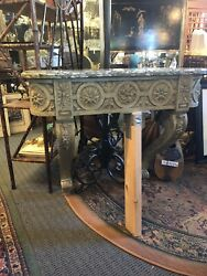 Antique French Wall Mounting Demilune Carved Console Table W/ Marble Top