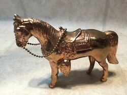 """Carnival Horse, Solid Metal, Chrome Plated With Saddle, 4""""tall"""