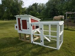 3and039x7and039x56 Wooden Chicken Coop Hutch And Pen Enclosure Run Fits 3-5 Hens Painted