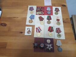 Big Lot Order And Medals Soviet Russian Ussr Documents 18 Pcs Order Silver And Gold