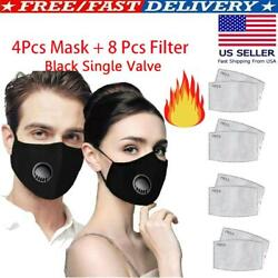 4X Reusable Washable Face Mask + 8 PM2.5 Filter Air Purifying Cotton Mouth Cover $18.49