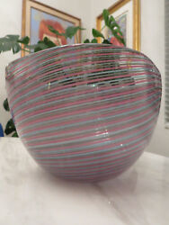 Large C.1970s Cenedese Pink Blue And Gray Filigrana Murano Art Glass Bowl