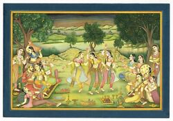 India Miniature Painting Musician And Dancing Girls Performing Dance For Shahjahan