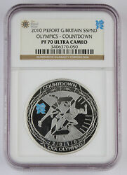 Great Britain 2010 5 Pound Silver Piefort Proof Coin Olympics Countdown Ngc Pf70