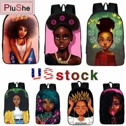 Afro African Beauty Black Princess Cool Girls Waterproof School Backpack Bag USA $15.99