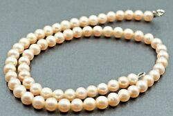 Womens Necklace Freshwater Pearl Cultured Dyed Pink Semi Button Knotted Vintage