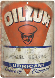 Oilzum Lubricant Porcelain Look Can 10 X 7 Reproduction Metal Sign U272