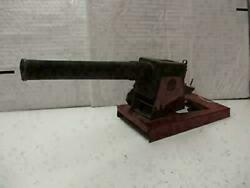 Antique 1930's Balwin Toy Cannon With Wood Barrel Pressed Steel Frame