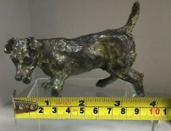 Cold Painted Solid Bronze TERRIER in Style of Bergman Signed