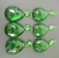 6 Lot Faceted Green Prisms With Green Bead Chandelier Total Drop 2 3/4