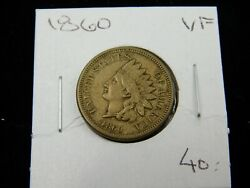 1860 Indian Head Cent Penny, Pointed Breast Vf Collector Coin Better Date 671