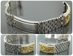 Natural Gold Nugget Stainless Steel/sterling Silver Custom Made Watch Band 16mm