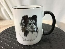 Collectible White amp; Black COLLIE Coffee Mug Porcelain By Rosalinde Black Handle