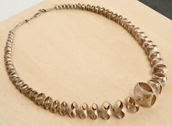 Cheyenne Harris Navajo Silver And Gold Necklace 20th Century