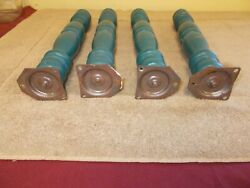 Vgt Lot-4 Wood Spindals Shabby Green Blue Table Legs Farm House Primitive Patina