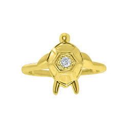 14k Yellow Gold Finish 925 Sterling Silver Turtle Shape Solitaire Toe Rings Cz
