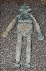 37chinese Old Jade Inlay Natural Turquoise Carved Boy Funeral Sacrifice Statue