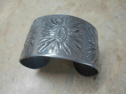 Wendell August Forge Wide Hand Wrought Pewter Cuff Bracelet - Rare
