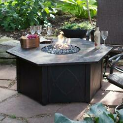 Outdoor 55-in. Decorative Slate Tile LP Gas Large Fire Pit Table with FREE Cover