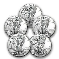 2020 1 oz American Silver Eagle BU Lot of 5 Coins $1 US Mint Silver $143.70
