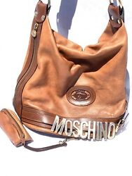 Rare Vintage Moschino High End Designer Boho Bucket Leather Bag Adjustable Strap $1,200.00