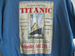 Vintage Official 1990s Titanic The Queen Of The Ocean Movie Ship Photo T-shirt L