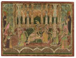 Antique Indian Miniature Painting King And Queen Love Scene - Rajasthan Painting