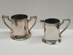 Antique Quaranteed Plate 834 And Ps Co.sheffield Silver-plated Creamer And Sugar Set