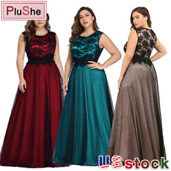 Plu Size Women Long Mesh Cocktail Bridesmaid Lace Evening Party Dress Prom Gown $18.89
