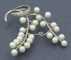 Womens Brooch 9ct WHITE GOLD & PEARL Fine Fashion Vintage Collectable