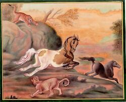 Lot Of Rare Collection Horse And Tiger In Forest Indian Miniature Painting