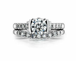 6.5mm Round Cut Simulated Diamond 14k White Gold Engagement And Wedding Rings
