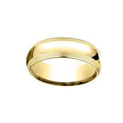 14k Yellow Gold 7mm Slightly Dome Comfort Fit Band Ring Sz 6 W/ Double Milgrain