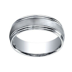 18k White Gold 7.5mm Comfort Fit Satin Finish Double Round Edge Band Ring Sz 9