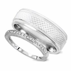 1/8 Carat T.w. Rounds Cut Diamond His And Hers Wedding Band Set 14k White Gold