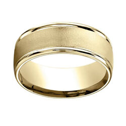 18k Yellow Gold 8mm Comfort Fit Wire Brush Finish High Polished Band Ring Sz 12