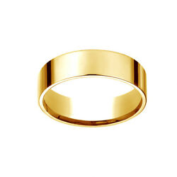 18k Yellow Gold 6mm Flat Comfort-fit Wedding Band Ring Size 11