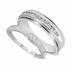1/2 Ct Round Cut Diamond His And Hers Wedding Band Set In 10k White Gold