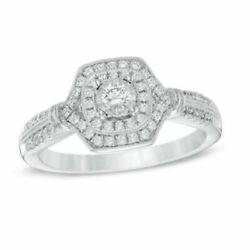 3/8 Ct Natural Diamond Double Frame Engagement Ring In 10k White Gold