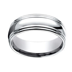 18k White Gold 7.5mm Comfort Fit High Polish Double Round Edge Band Ring Sz 7