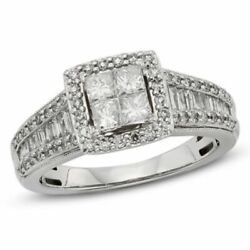 Natural Diamond Halo Engagement Ring 10k Solid White Gold
