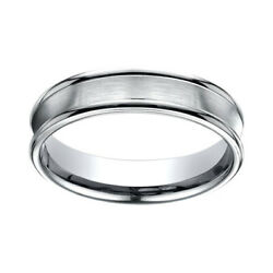 18k White Gold 5.5 Mm Comfort Fit Concave Round Edge Satin Center Band Ring Sz 9